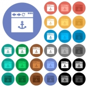 Browser anchor multi colored flat icons on round backgrounds. Included white, light and dark icon variations for hover and active status effects, and bonus shades on black backgounds. - Browser anchor round flat multi colored icons