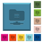 FTP archive engraved icons on edged square buttons in various trendy colors - FTP archive engraved icons on edged square buttons