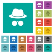 Incognito with glasses multi colored flat icons on plain square backgrounds. Included white and darker icon variations for hover or active effects. - Incognito with glasses square flat multi colored icons
