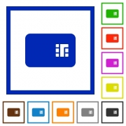 Chip card flat color icons in square frames on white background - Chip card flat framed icons