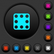 Domino eight dark push buttons with vivid color icons on dark grey background