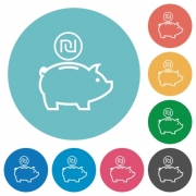 Israeli new Shekel piggy bank flat white icons on round color backgrounds - Israeli new Shekel piggy bank flat round icons