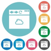 Browser cloud flat white icons on round color backgrounds - Browser cloud flat round icons