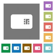Chip card flat icons on simple color square backgrounds - Chip card square flat icons