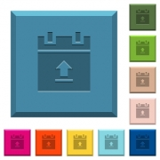 Upload schedule data engraved icons on edged square buttons in various trendy colors - Upload schedule data engraved icons on edged square buttons