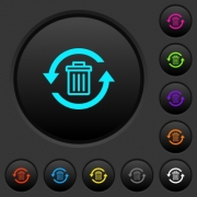 Undelete dark push buttons with vivid color icons on dark grey background - Undelete dark push buttons with color icons