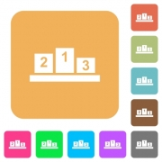 Winners podium with inside numbers flat icons on rounded square vivid color backgrounds. - Winners podium with inside numbers rounded square flat icons