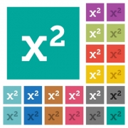 Math exponentiation multi colored flat icons on plain square backgrounds. Included white and darker icon variations for hover or active effects. - Math exponentiation square flat multi colored icons