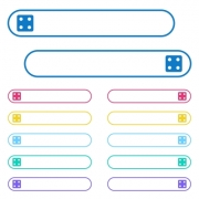 Dice four icons in rounded color menu buttons. Left and right side icon variations. - Dice four icons in rounded color menu buttons