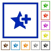 Add star flat color icons in square frames on white background - Add star flat framed icons
