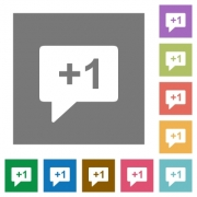 Plus one sign flat icons on simple color square backgrounds - Plus one sign square flat icons