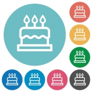 Birthday cake flat white icons on round color backgrounds - Birthday cake flat round icons