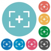 Camera crosshairs flat white icons on round color backgrounds - Camera crosshairs flat round icons