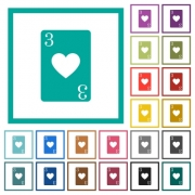 Three of hearts card flat color icons with quadrant frames on white background