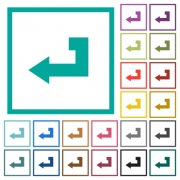 Return key flat color icons with quadrant frames on white background - Return key flat color icons with quadrant frames