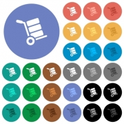 Hand truck with boxes multi colored flat icons on round backgrounds. Included white, light and dark icon variations for hover and active status effects, and bonus shades on black backgounds. - Hand truck with boxes round flat multi colored icons