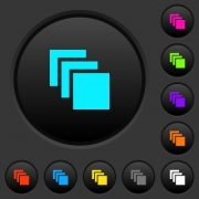 Multiple canvases dark push buttons with vivid color icons on dark grey background - Multiple canvases dark push buttons with color icons
