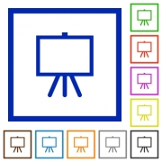 Easel with blank canvas flat color icons in square frames on white background - Easel with blank canvas flat framed icons