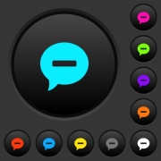 Delete comment dark push buttons with vivid color icons on dark grey background - Delete comment dark push buttons with color icons