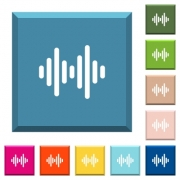 Sound wave white icons on edged square buttons in various trendy colors - Sound wave white icons on edged square buttons