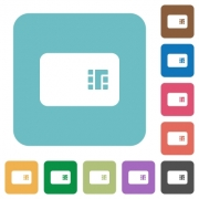 Chip card white flat icons on color rounded square backgrounds - Chip card rounded square flat icons