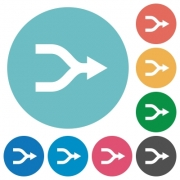 Merge arrows flat white icons on round color backgrounds - Merge arrows flat round icons