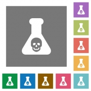 Dangerous chemical experiment flat icons on simple color square backgrounds - Dangerous chemical experiment square flat icons