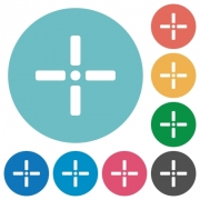 Precise cursor flat white icons on round color backgrounds - Precise cursor flat round icons