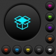 Open box dark push buttons with vivid color icons on dark grey background - Open box dark push buttons with color icons