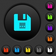 Archive file dark push buttons with vivid color icons on dark grey background - Archive file dark push buttons with color icons