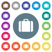Suitcase flat white icons on round color backgrounds. 17 background color variations are included. - Suitcase flat white icons on round color backgrounds