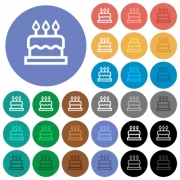 Birthday cake multi colored flat icons on round backgrounds. Included white, light and dark icon variations for hover and active status effects, and bonus shades on black backgounds. - Birthday cake round flat multi colored icons