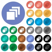 Multiple canvases multi colored flat icons on round backgrounds. Included white, light and dark icon variations for hover and active status effects, and bonus shades on black backgounds. - Multiple canvases round flat multi colored icons
