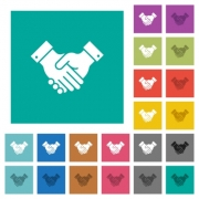 Partnership multi colored flat icons on plain square backgrounds. Included white and darker icon variations for hover or active effects. - Partnership square flat multi colored icons