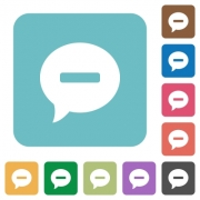Delete comment white flat icons on color rounded square backgrounds - Delete comment rounded square flat icons