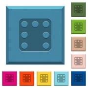 Domino seven engraved icons on edged square buttons in various trendy colors - Domino seven engraved icons on edged square buttons