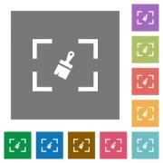 Camera sensor cleaning flat icons on simple color square backgrounds - Camera sensor cleaning square flat icons