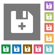 Add new file flat icons on simple color square backgrounds - Add new file square flat icons