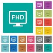 Full HD display multi colored flat icons on plain square backgrounds. Included white and darker icon variations for hover or active effects. - Full HD display square flat multi colored icons