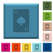 Nine of spades card engraved icons on edged square buttons in various trendy colors - Nine of spades card engraved icons on edged square buttons