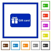 Gift card with text flat color icons in square frames on white background - Gift card with text flat framed icons