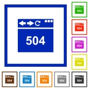 Browser 504 Gateway Timeout flat color icons in square frames on white background - Browser 504 Gateway Timeout flat framed icons