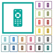 Remote control flat color icons with quadrant frames on white background - Remote control flat color icons with quadrant frames
