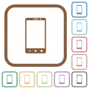 Modern mobile phone with three button simple icons in color rounded square frames on white background - Modern mobile phone with three button simple icons