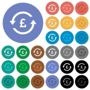Pound pay back multi colored flat icons on round backgrounds. Included white, light and dark icon variations for hover and active status effects, and bonus shades on black backgounds. - Pound pay back round flat multi colored icons