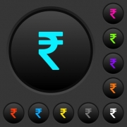 Indian Rupee sign dark push buttons with vivid color icons on dark grey background - Indian Rupee sign dark push buttons with color icons