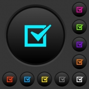 Checked box dark push buttons with vivid color icons on dark grey background - Checked box dark push buttons with color icons