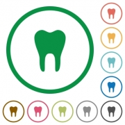 Single tooth flat color icons in round outlines on white background - Single tooth flat icons with outlines