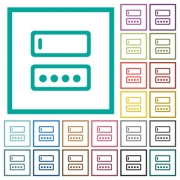 Entering login name and password flat color icons with quadrant frames on white background - Entering login name and password flat color icons with quadrant frames