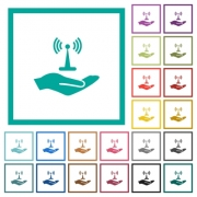Sharing wireless network flat color icons with quadrant frames on white background - Sharing wireless network flat color icons with quadrant frames